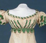 Evening dress 1818-20 cream silk and wool mix trimmed with green satin
