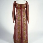 Red gauze dress with chenille embroidery. A light open weave fabric woven in Scotland, gauze or leno, ca 1808