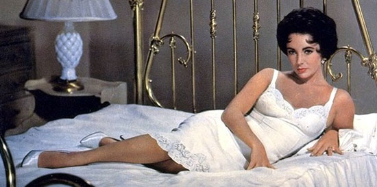 "Elizabeth Taylor in a ""regular-length"" slip, in BUtterfield 8 (1960). She won her first Oscar for the role."