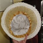 hat 1 cover joint between linings with ribbon and optional lace edge