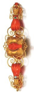 Gold and coral bracelet, length 185mm, early 19th century.