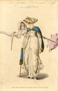 Garden promenade dresses, 1809, Fashion Plate Collection. Tasseled parasol on the right and parasol with knotted tassel fringe on the left.