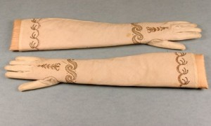 Cotton fabric embroidered gloves, circa 1790-1810, bias cut for stretch, gold and sequinned scrollwork pale pink floss silk detailing