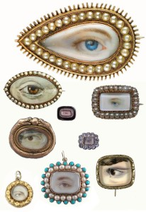 "Various ""lovers eye"" pieces of jewelry."