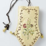 Reticule, Dutch, 1805. Silk, multicolored embroidered silk flowers, slide ring. Rijksmuseum
