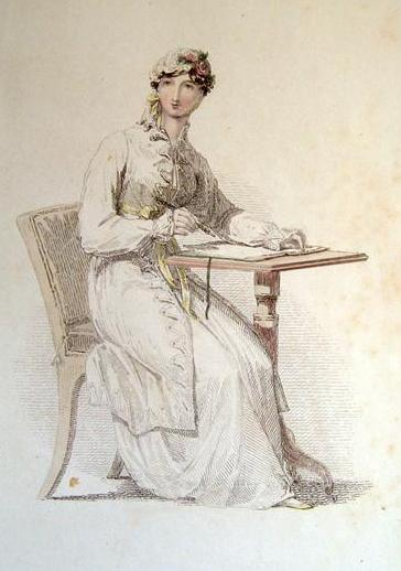 Regency lady writing: did she have issues with anachronisms? --From Ackermann's Repository for Art, 1813.