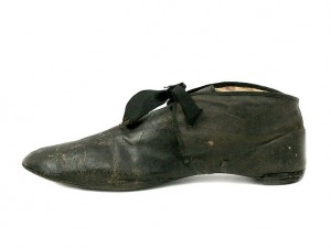 1810 Rare Gentleman's Leather Shoes with Silk Ribbon Ties.