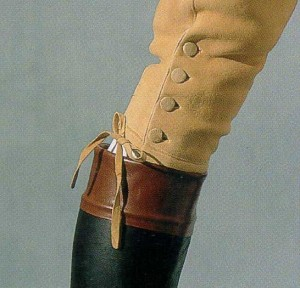 Buckskin breeches, showing buttons and tie closure and jockey boots. Metropolitan Museum of Art.