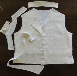 Ivory paisley waistcoat, collar made, showing cut and location for lapel