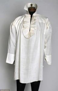 Man's linen shirt, 1790-1810. Augusta Auctions.