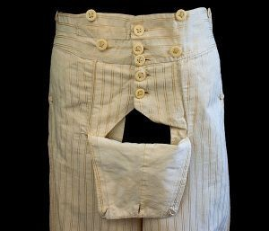 Buttoned fall on museum breeches.