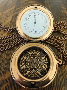 steampunk costume pocket watch showing paper inside