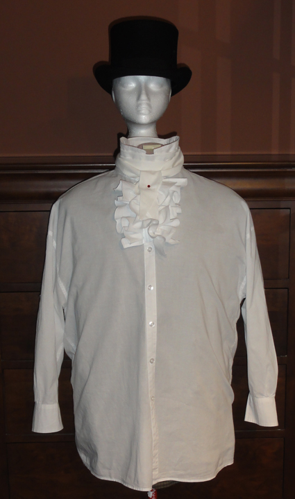 tsrce mens shirt with cravat, crystal stick pin, and top hat