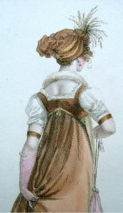 "La Miroir de la Mode gown from 1803, the inspiration drawing for Suzan Lauder's January 20, 2016 guest post on ""A Covent Garden Gilflurt's Guide to Life"" blog."