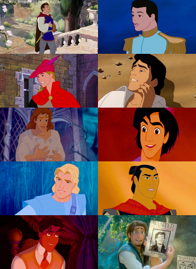 Disney Princes (from The Disney Wiki http://disney.wikia.com/wiki/Disney_Prince)