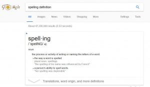 google-spelling-definition
